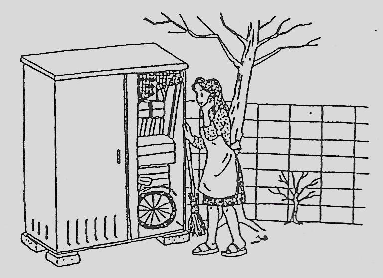 Las cosas que no usamos, pero seguimos conservando cada vez van en aumento. Ilustración original del artículo publicado en Yomiuri Shinbun en 1994.